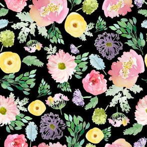 """8"""" Andalusia Spring Falling Florals Black"""