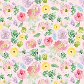 """4"""" Andalusia Spring Falling Florals Blush Pink"""