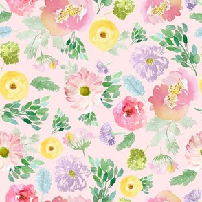 """8"""" Andalusia Spring Falling Florals Blush Pink"""