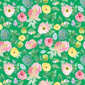 """4"""" Andalusia Spring Falling Florals Bright Green"""