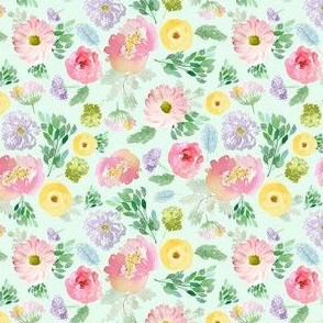 """4"""" Andalusia Spring Falling Florals Pastel Green"""