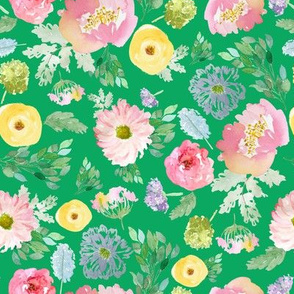 """8"""" Andalusia Spring Falling Florals Bright Green"""