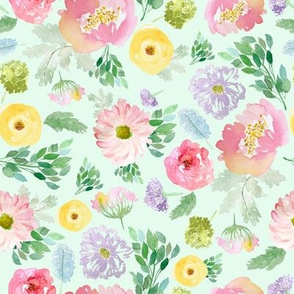 """8"""" Andalusia Spring Falling Florals Pastel Green"""