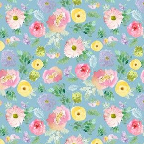 """4"""" Andalusia Spring Falling Florals Easter Blue"""