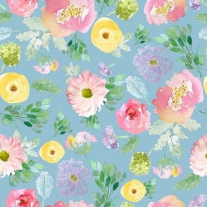 """8"""" Andalusia Spring Falling Florals Easter Blue"""