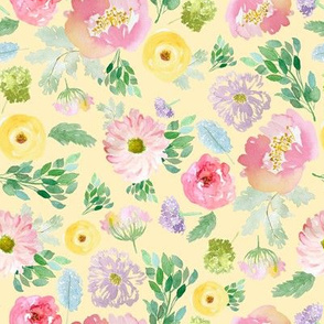 """8"""" Andalusia Spring Falling Florals Pastel Yellow"""