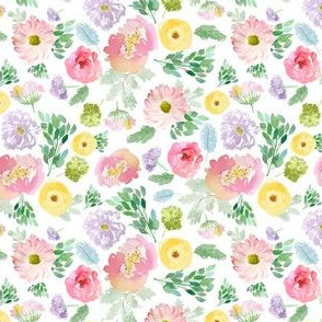 """4"""" Andalusia Spring Falling Florals White"""