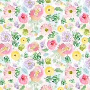 """4"""" Andalusia Spring Free Falling Florals Watercolor Splashes Background"""