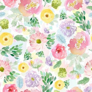"""8"""" Andalusia Spring Free Falling Florals Watercolor Splashes Background"""