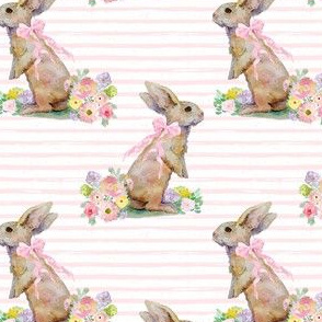 "4"" Spring Bunny Light Pink Splashes and Stripes"