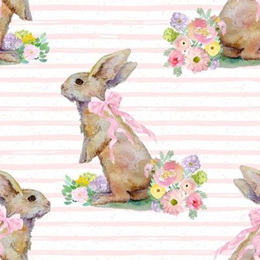 """8"""" Spring Bunny Light Pink Splashes and Stripes"""