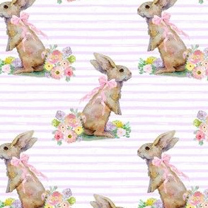 """4"""" Spring Bunny Pastel Lilac  Splashes and Stripes"""