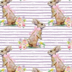 """4"""" Spring Bunny Lilac Splashes and Stripes"""
