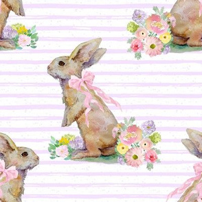 "8"" Spring Bunny Pastel Lilac  Splashes and Stripes"