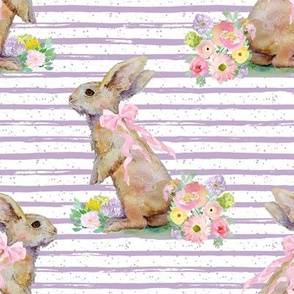 """8"""" Spring Bunny Lilac Splashes and Stripes"""