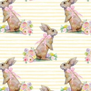 "4"" Spring Bunny Pastel Yellow  Splashes and Stripes"