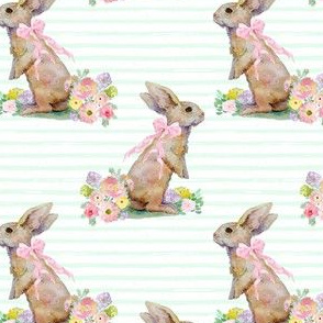 """4"""" Spring Bunny Pastel Green  Splashes and Stripes"""