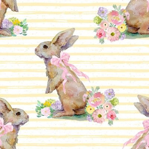"8"" Spring Bunny Pastel Yellow  Splashes and Stripes"