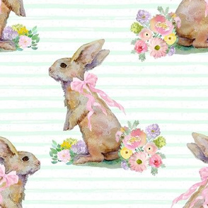 """8"""" Spring Bunny Pastel Green  Splashes and Stripes"""