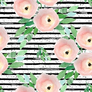 "8"" Spring Roses Black and White Stripes"
