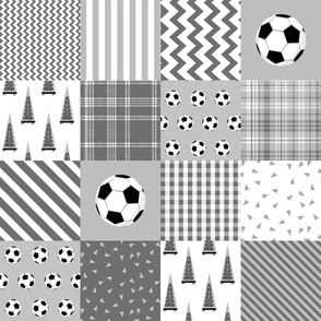 ROTATED soccer cheater quilt - sports, sport, grey, kids, boys, football wholecloth