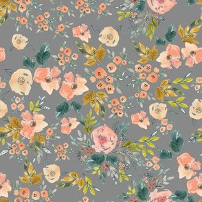 Watercolor Floral | grey