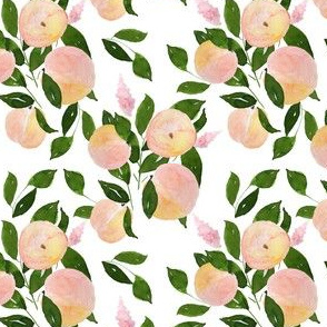 """4"""" Peach and Blooms White"""