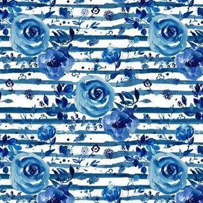 "4"" Chinoiserie Florals with Shibori Stripes"