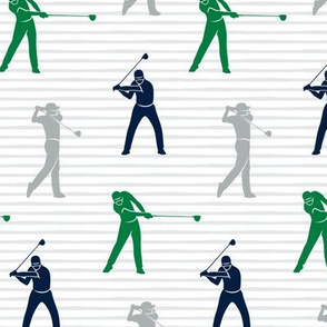 golfers - navy green and grey on stripes - LAD19