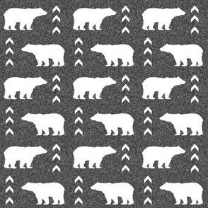 SMALL - bear fabric - charcoal bear, linen fabric, nursery fabric