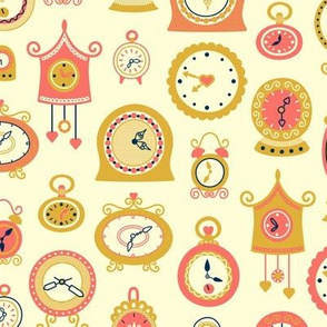 Retro Clocks on Yellow