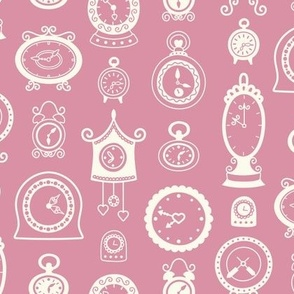 Retro Clocks on Dusty Rose