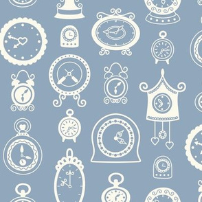 Retro Clocks on Dusty Blue