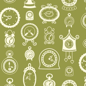 Retro Clocks on Olive Green