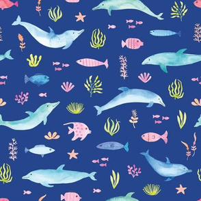 Watercolor Dolphins Swimming in a Sea of Fish