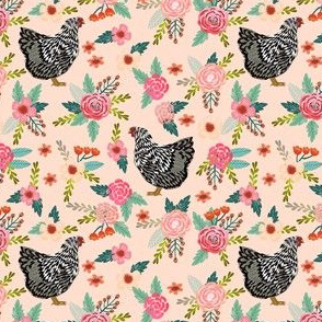 wyandotte chicken floral fabric - chicken fabric, floral fabric, farm fabric, farm animal fabric, farm animals  - blush