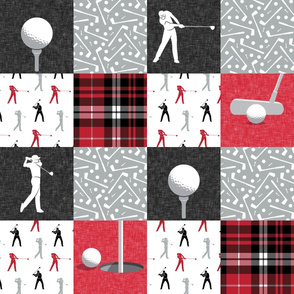 Golf Wholecloth -  red & black plaid - LAD19