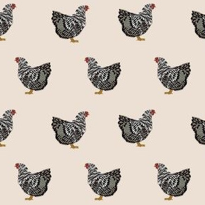 wyandotte chicken fabric - chicken fabric, farm fabric, farm animal fabric, wyandotte chickens, - cream