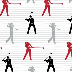 golfers - red grey and black on stripes - LAD19