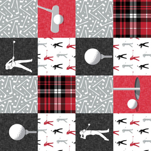 Golf Wholecloth -  red & black plaid (90) - LAD19