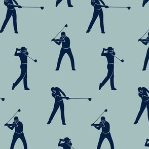 golfers - navy on dusty blue - LAD19
