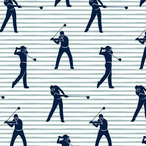 golfers - navy on dusty blue stripes