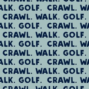 crawl walk golf - navy on dusty blue - LAD19