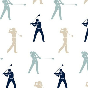 golfers - navy, beige, dusty blue - LAD19