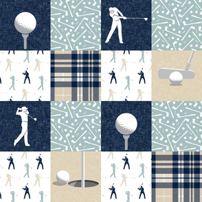 golf wholecloth - navy and dusty blue plaid - LAD19