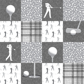 golf wholecloth - nursery patchwork - grey plaid C19BS