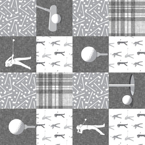 golf wholecloth - nursery patchwork - grey plaid (90) C19BS