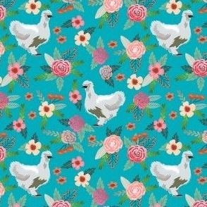 silkie chicken floral fabric - silkie chicken fabric, chicken fabric, farm animals fabric, birds fabric - teal
