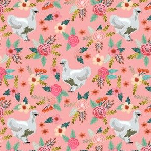silkie chicken floral fabric - silkie chicken fabric, chicken fabric, farm animals fabric, birds fabric -  pink