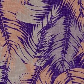 tropical palm leaves burned ochre